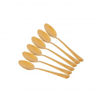 ملاعق اكل استيل ذهبي صغير طقم 6 حبة رقم YX1010-04TS