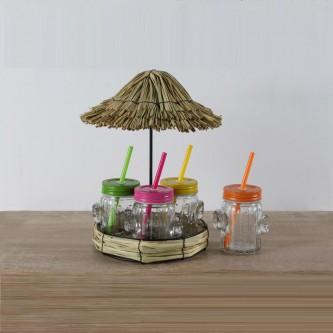 طقم كاسات عصير زجاج مع استاند موديل NB20-0129