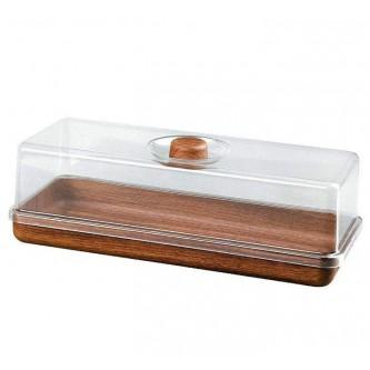 حافظة كيك بلاستيك مستطيل لون خشبي وغطاء شفاف موديل 10502M