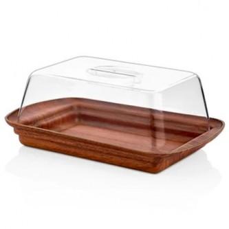 حافظة كيك بلاستيك مستطيل لون خشبي وغطاء شفاف موديل 10287M