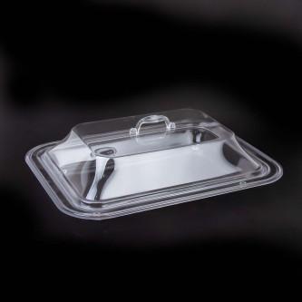صحن تقديم اكريليك شفاف مستطيل بغطاء موديل 1004903