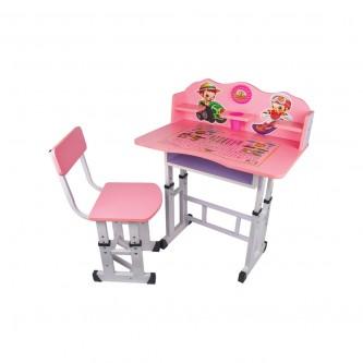طاولة اطفال مدرسية خشب + كرسي - لون زهري A-99