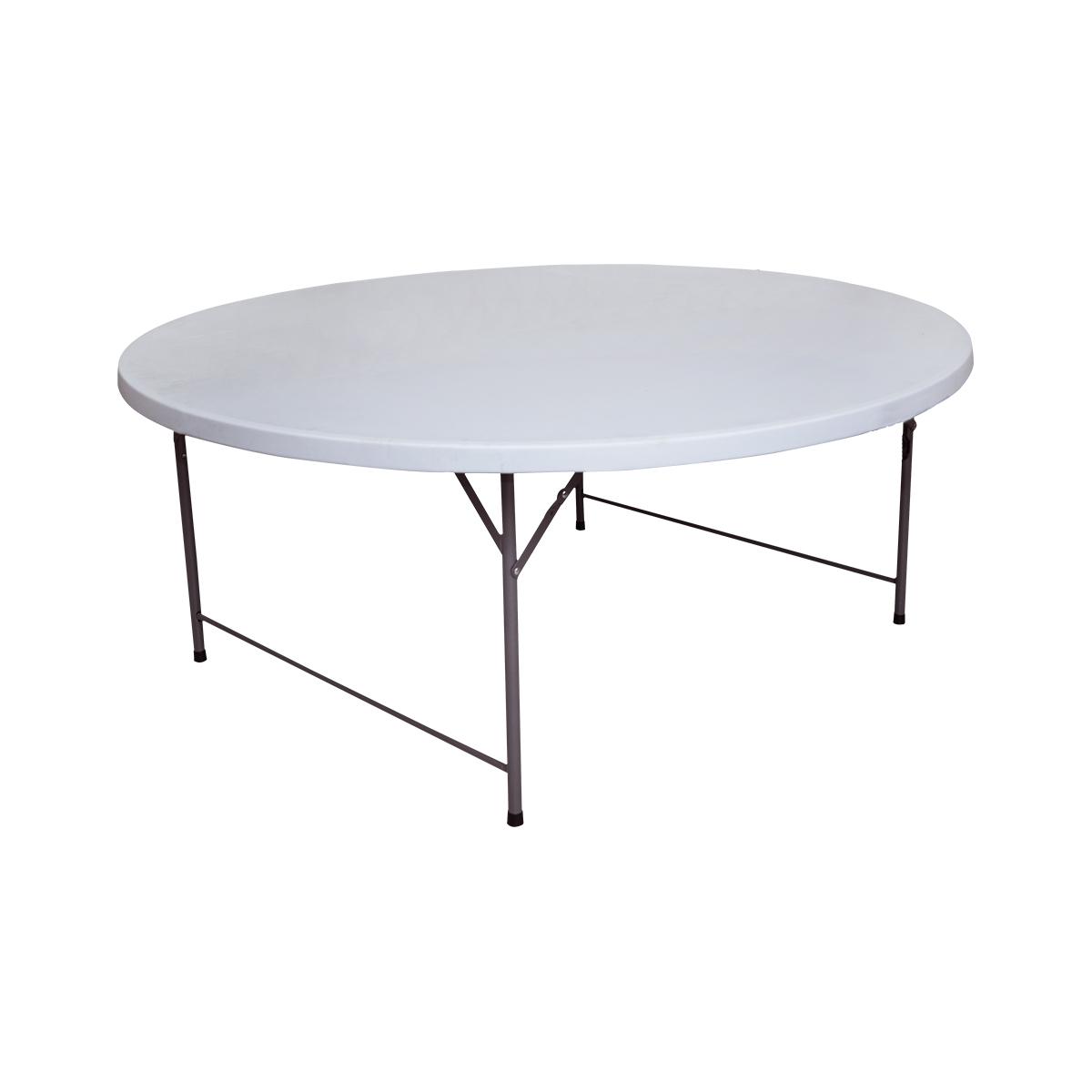 طاولة بلاستيك فايبر دائرية , لون ابيض , رقم MY-36001