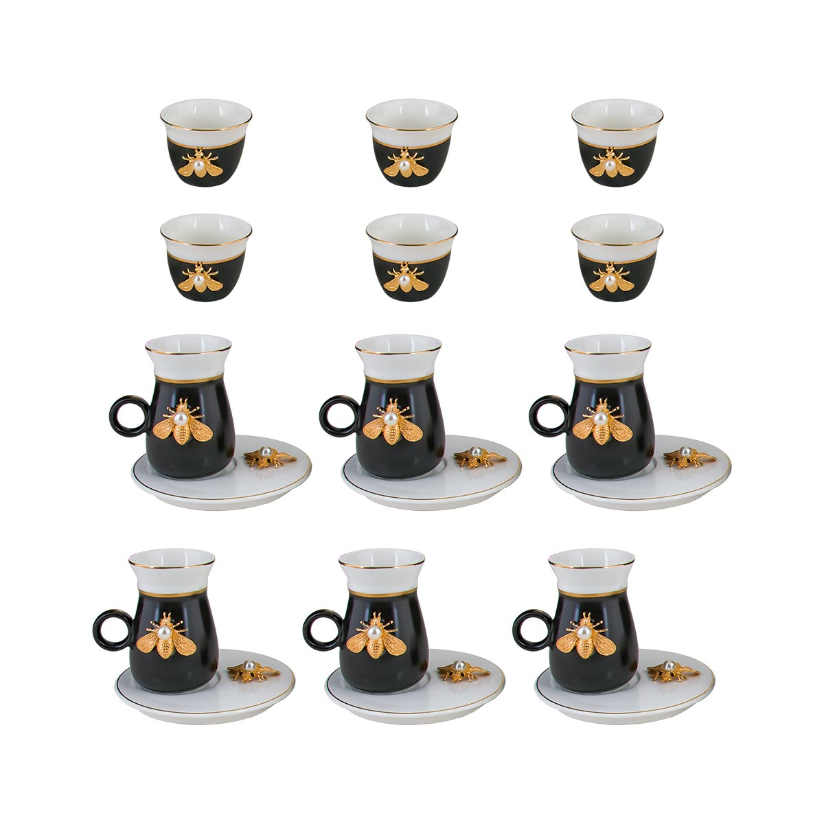 طقم فناجين قهوة وبيالات شاي مع الصحون , 18 قطعة 410010