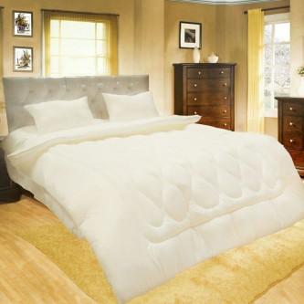 طقم لحاف مفرش سرير فندقي مقلم ,6 قطعه ,نفرين ,لون ابيض